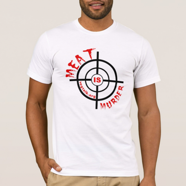 Meat is murder American Apparel white t-shirt for men